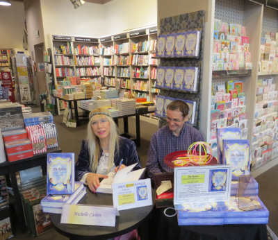 Michelle and John Cashin at Waterstones, Altrincham, signing copies of The Kairos